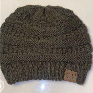 Green crocheted hat